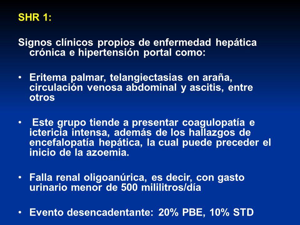 SHR 1: Signos clínicos propios de enfermedad hepática crónica e hipertensión portal como: Eritema palmar, telangiectasias en araña, circulación venosa