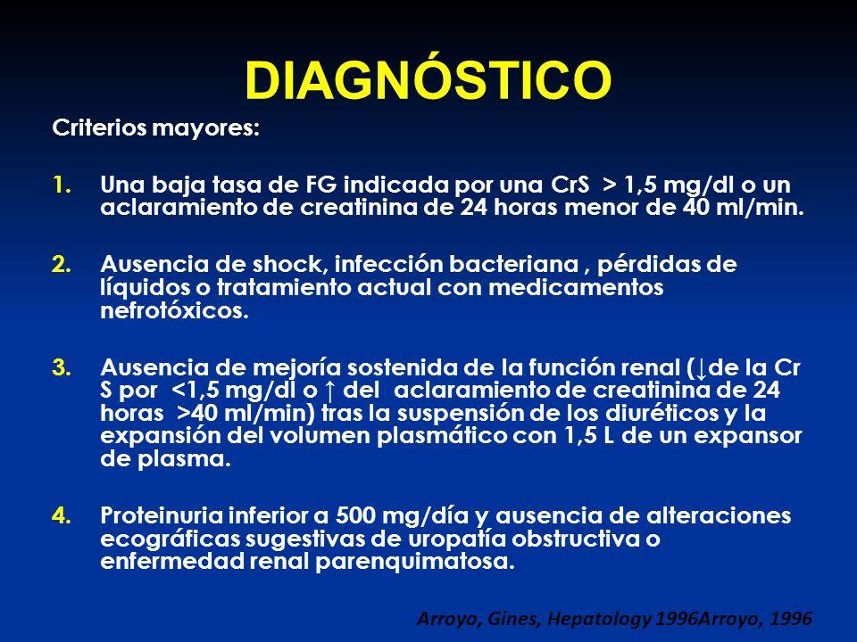 DIAGNÓSTICO Criterios mayores: 1.Una baja tasa de FG indicada por una CrS > 1,5 mg/dl o un aclaramiento de creatinina de 24 horas menor de 40 ml/min.