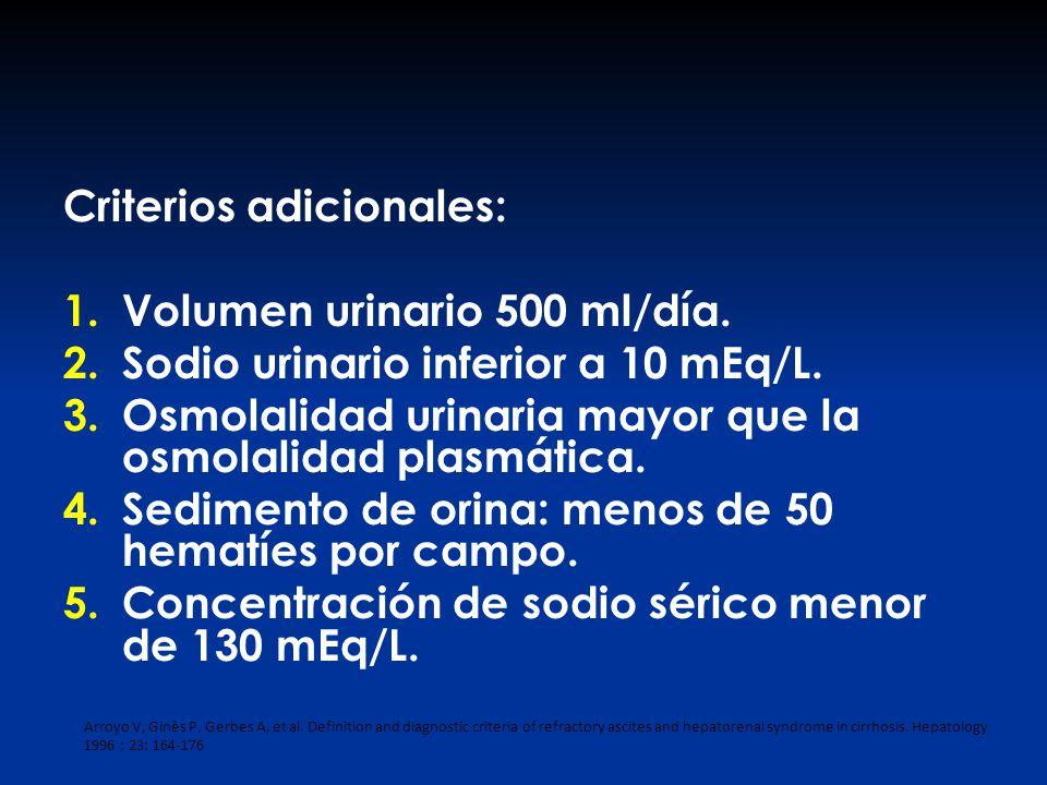 Criterios adicionales: 1.Volumen urinario 500 ml/día. 2.Sodio urinario inferior a 10 mEq/L. 3.Osmolalidad urinaria mayor que la osmolalidad plasmática