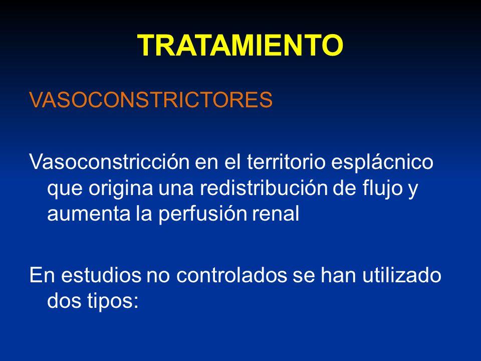 TRATAMIENTO VASOCONSTRICTORES Vasoconstricción en el territorio esplácnico que origina una redistribución de flujo y aumenta la perfusión renal En est