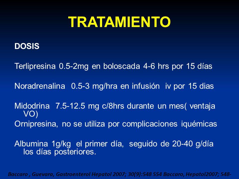 TRATAMIENTO DOSIS Terlipresina 0.5-2mg en boloscada 4-6 hrs por 15 días Noradrenalina 0.5-3 mg/hra en infusión iv por 15 dias Midodrina 7.5-12.5 mg c/