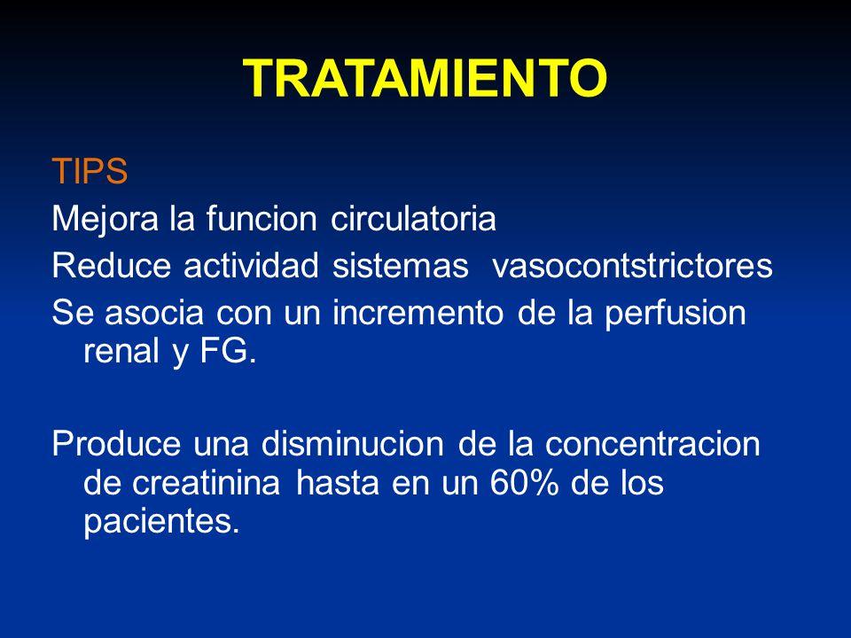 TRATAMIENTO TIPS Mejora la funcion circulatoria Reduce actividad sistemas vasocontstrictores Se asocia con un incremento de la perfusion renal y FG. P