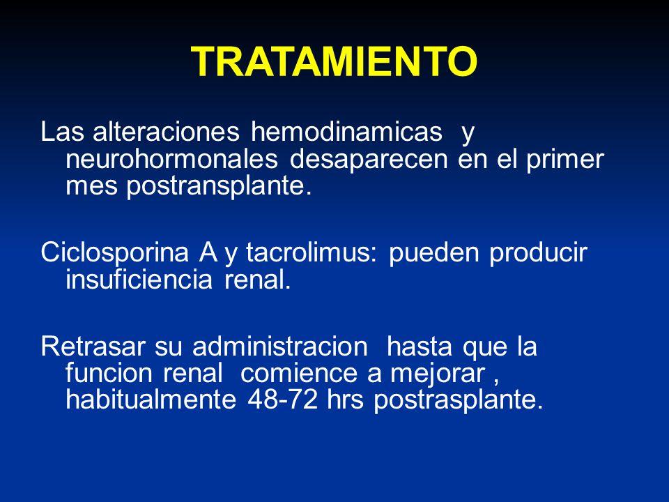 TRATAMIENTO Las alteraciones hemodinamicas y neurohormonales desaparecen en el primer mes postransplante. Ciclosporina A y tacrolimus: pueden producir