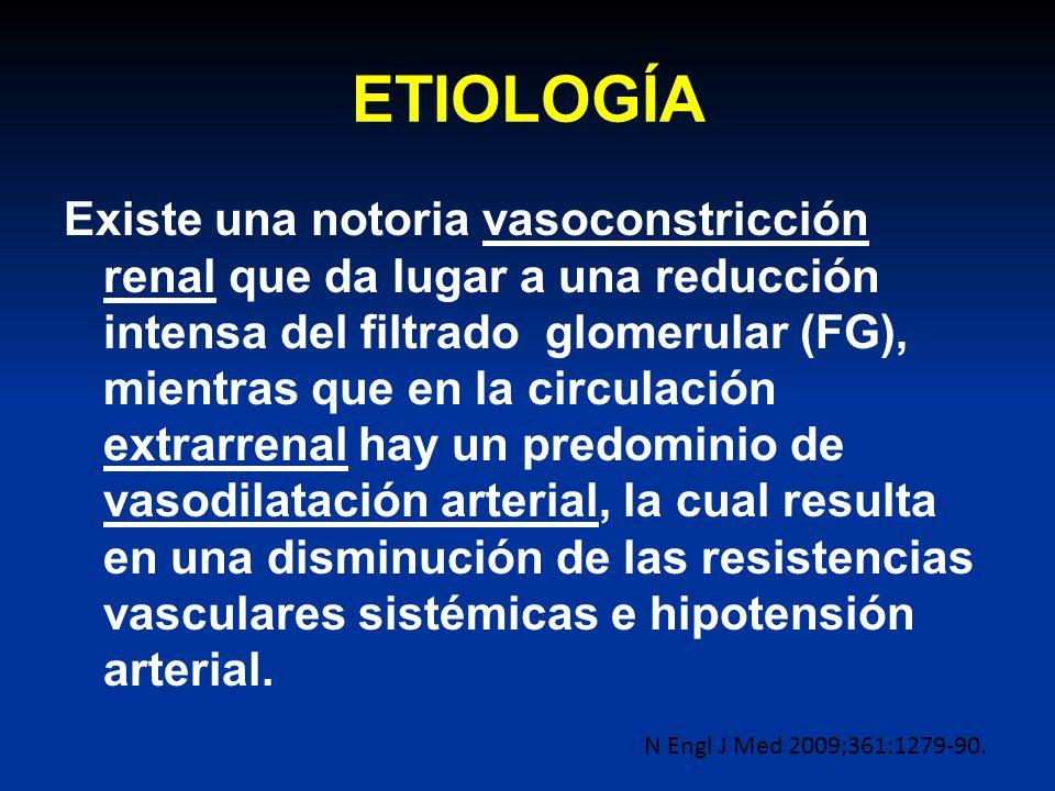 ETIOLOGÍA Existe una notoria vasoconstricción renal que da lugar a una reducción intensa del filtrado glomerular (FG), mientras que en la circulación