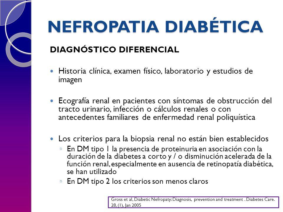 NEFROPATIA DIABÉTICA DIAGNÓSTICO DIFERENCIAL Historia clínica, examen físico, laboratorio y estudios de imagen Ecografía renal en pacientes con síntom
