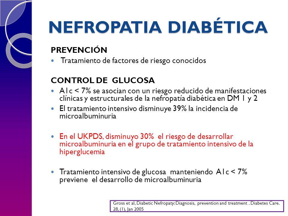 NEFROPATIA DIABÉTICA PREVENCIÓN Tratamiento de factores de riesgo conocidos CONTROL DE GLUCOSA A1c < 7% se asocian con un riesgo reducido de manifesta