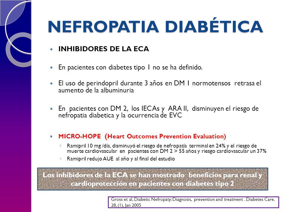NEFROPATIA DIABÉTICA INHIBIDORES DE LA ECA En pacientes con diabetes tipo 1 no se ha definido. El uso de perindopril durante 3 años en DM 1 normotenso