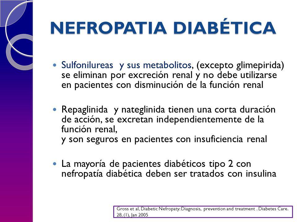 NEFROPATIA DIABÉTICA Sulfonilureas y sus metabolitos, (excepto glimepirida) se eliminan por excreción renal y no debe utilizarse en pacientes con disminución de la función renal Repaglinida y nateglinida tienen una corta duración de acción, se excretan independientemente de la función renal, y son seguros en pacientes con insuficiencia renal La mayoría de pacientes diabéticos tipo 2 con nefropatía diabética deben ser tratados con insulina Gross et al, Diabetic Nefropaty: Diagnosis, prevention and treatment.