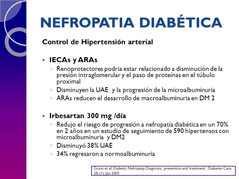 NEFROPATIA DIABÉTICA Control de Hipertensión arterial IECAs y ARAs Renoprotectores podria estar relacionado a disminución de la presión intraglomerular y el paso de proteínas en el túbulo proximal Disminuyen la UAE y la progresión de la microalbuminuria ARAs reducen el desarrollo de macroalbuminuria en DM 2 Irbesartan 300 mg /día Redujo el riesgo de progresión a nefropatía diabética en un 70% en 2 años en un estudio de seguimiento de 590 hipertensos con microalbuminuria y DM2 Disminuyó 38% UAE 34% regresaron a normoalbuminuria Gross et al, Diabetic Nefropaty: Diagnosis, prevention and treatment.