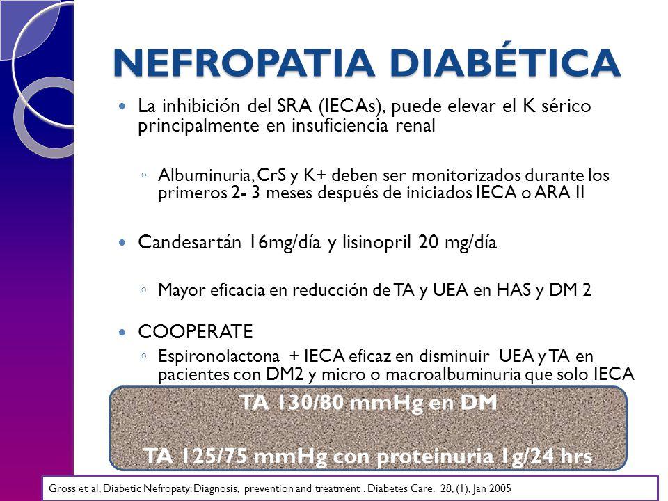 NEFROPATIA DIABÉTICA La inhibición del SRA (IECAs), puede elevar el K sérico principalmente en insuficiencia renal Albuminuria, CrS y K+ deben ser monitorizados durante los primeros 2- 3 meses después de iniciados IECA o ARA II Candesartán 16mg/día y lisinopril 20 mg/día Mayor eficacia en reducción de TA y UEA en HAS y DM 2 COOPERATE Espironolactona + IECA eficaz en disminuir UEA y TA en pacientes con DM2 y micro o macroalbuminuria que solo IECA TA 130/80 mmHg en DM TA 125/75 mmHg con proteinuria 1g/24 hrs Gross et al, Diabetic Nefropaty: Diagnosis, prevention and treatment.