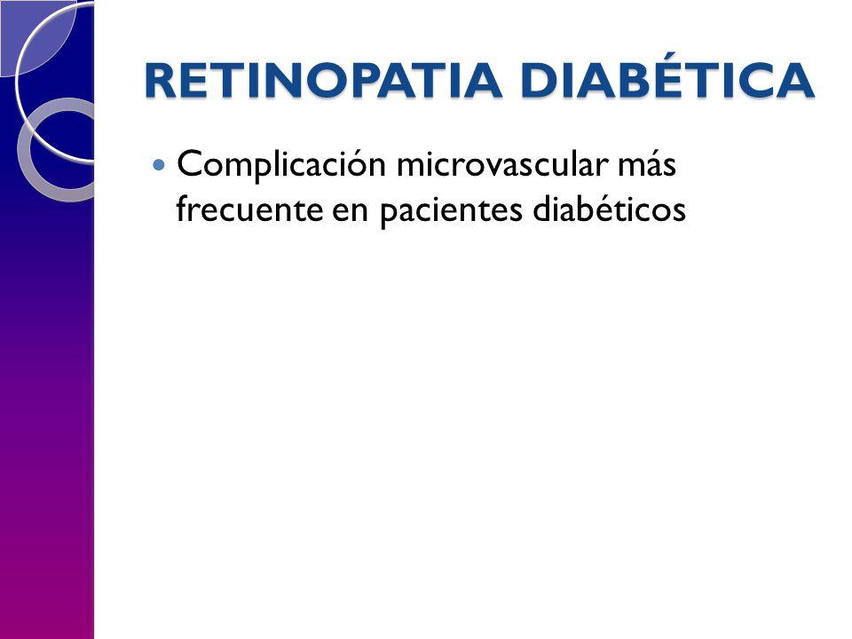 RETINOPATIA DIABÉTICA Complicación microvascular más frecuente en pacientes diabéticos