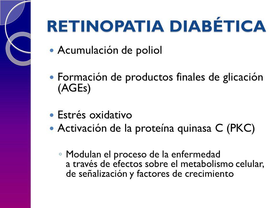 RETINOPATIA DIABÉTICA Acumulación de poliol Formación de productos finales de glicación (AGEs) Estrés oxidativo Activación de la proteína quinasa C (PKC) Modulan el proceso de la enfermedad a través de efectos sobre el metabolismo celular, de señalización y factores de crecimiento