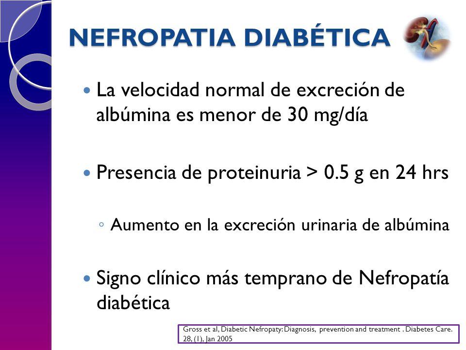 NEFROPATIA DIABÉTICA La velocidad normal de excreción de albúmina es menor de 30 mg/día Presencia de proteinuria > 0.5 g en 24 hrs Aumento en la excreción urinaria de albúmina Signo clínico más temprano de Nefropatía diabética Gross et al, Diabetic Nefropaty: Diagnosis, prevention and treatment.