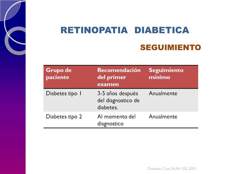 RETINOPATIA DIABETICA SEGUIMIENTO Grupo de paciente Recomendación del primer examen Seguimiento mínimo Diabetes tipo 13-5 años después del diagnostico