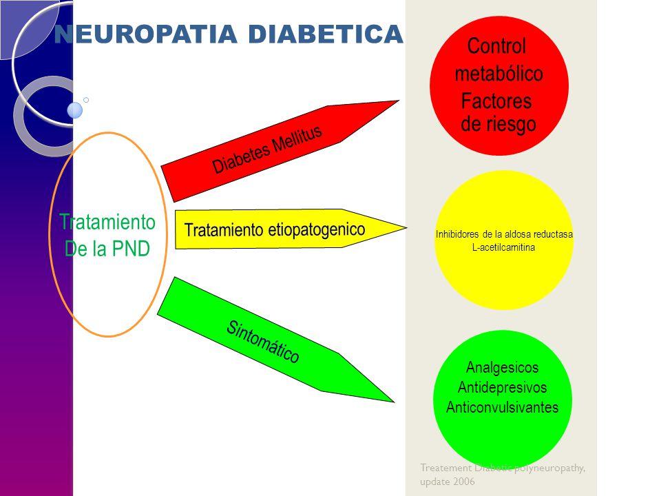 Sintomático Control metabólico Factores de riesgo Inhibidores de la aldosa reductasa L-acetilcarnitina Analgesicos Antidepresivos Anticonvulsivantes Diabetes Mellitus Tratamiento etiopatogenico Tratamiento De la PND NEUROPATIA DIABETICA Treatement Diabetic polyneuropathy, update 2006