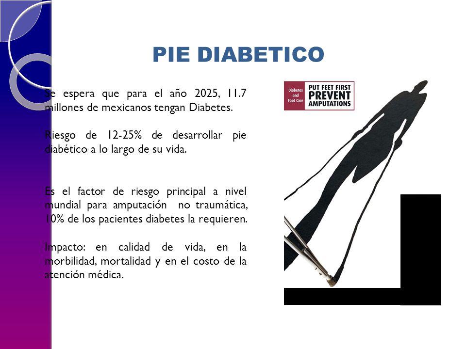 Se espera que para el año 2025, 11.7 millones de mexicanos tengan Diabetes. Riesgo de 12-25% de desarrollar pie diabético a lo largo de su vida. Es el