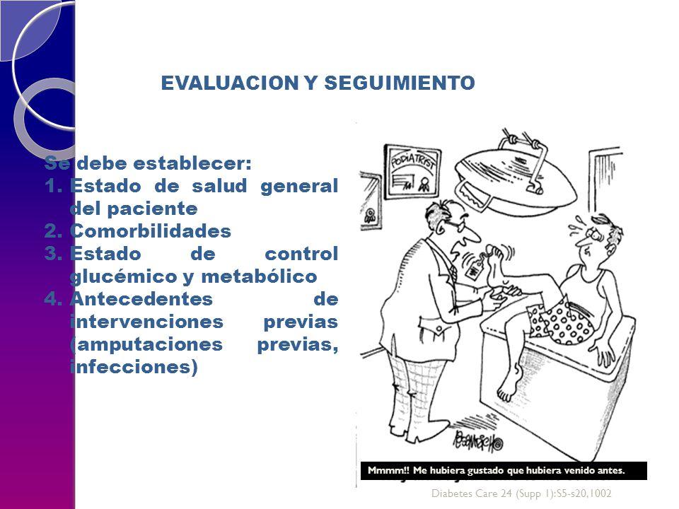 EVALUACION Y SEGUIMIENTO Se debe establecer: 1.Estado de salud general del paciente 2.Comorbilidades 3.Estado de control glucémico y metabólico 4.Antecedentes de intervenciones previas (amputaciones previas, infecciones) Mmmm!.