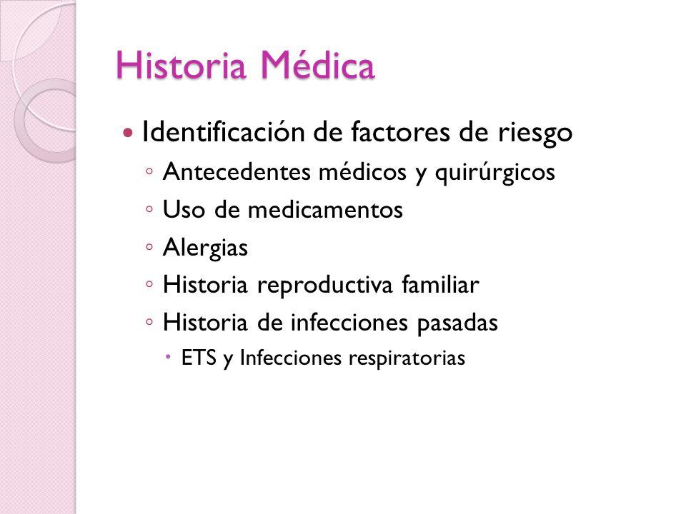 Historia Médica Historia reproductiva Frecuencia coital y duración Duración de la infertilidad Infecciones en la infancia Exposición a toxinas gonadales (calor)