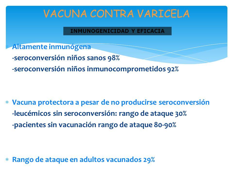 VACUNA CONTRA VARICELA Altamente inmunógena -seroconversión niños sanos 98% -seroconversión niños inmunocomprometidos 92% Vacuna protectora a pesar de no producirse seroconversión -leucémicos sin seroconversión: rango de ataque 30% -pacientes sin vacunación rango de ataque 80-90% Rango de ataque en adultos vacunados 29% INMUNOGENICIDAD Y EFICACIA