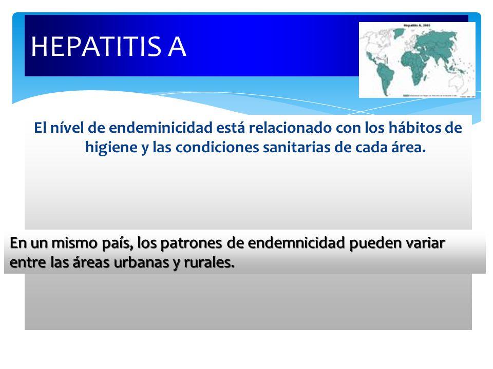 HEPATITIS A El nível de endeminicidad está relacionado con los hábitos de higiene y las condiciones sanitarias de cada área. En un mismo país, los pat