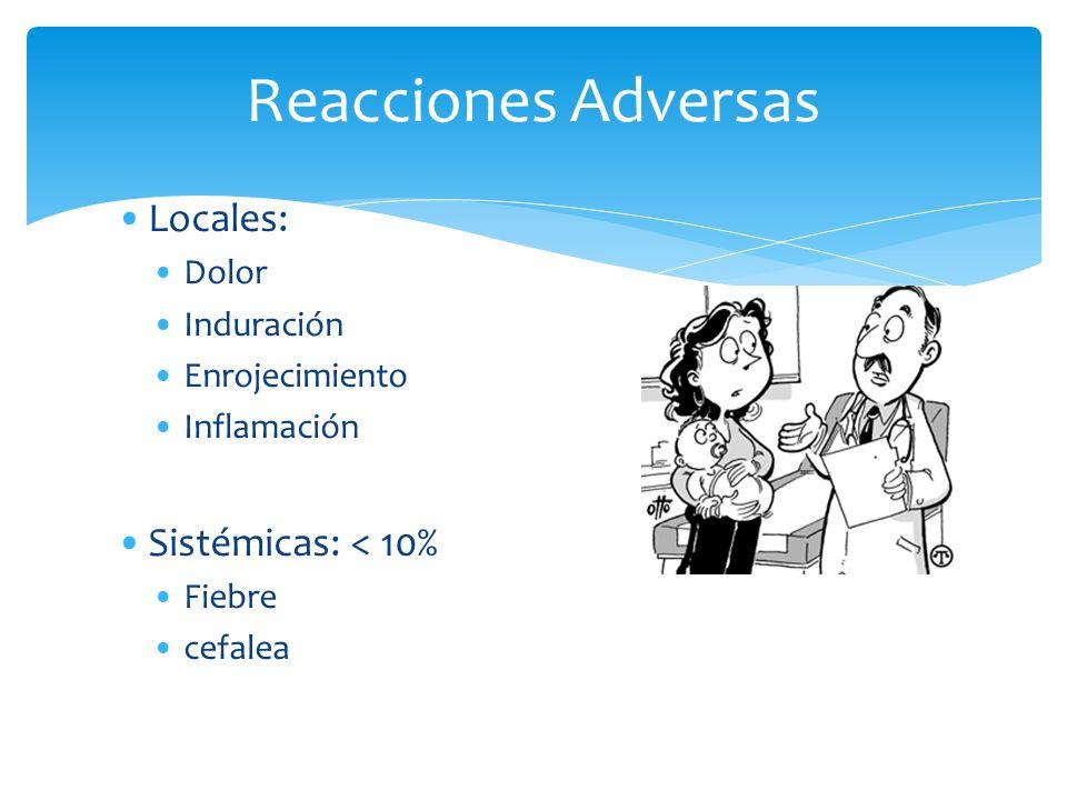 Reacciones Adversas Locales: Dolor Induración Enrojecimiento Inflamación Sistémicas: < 10% Fiebre cefalea