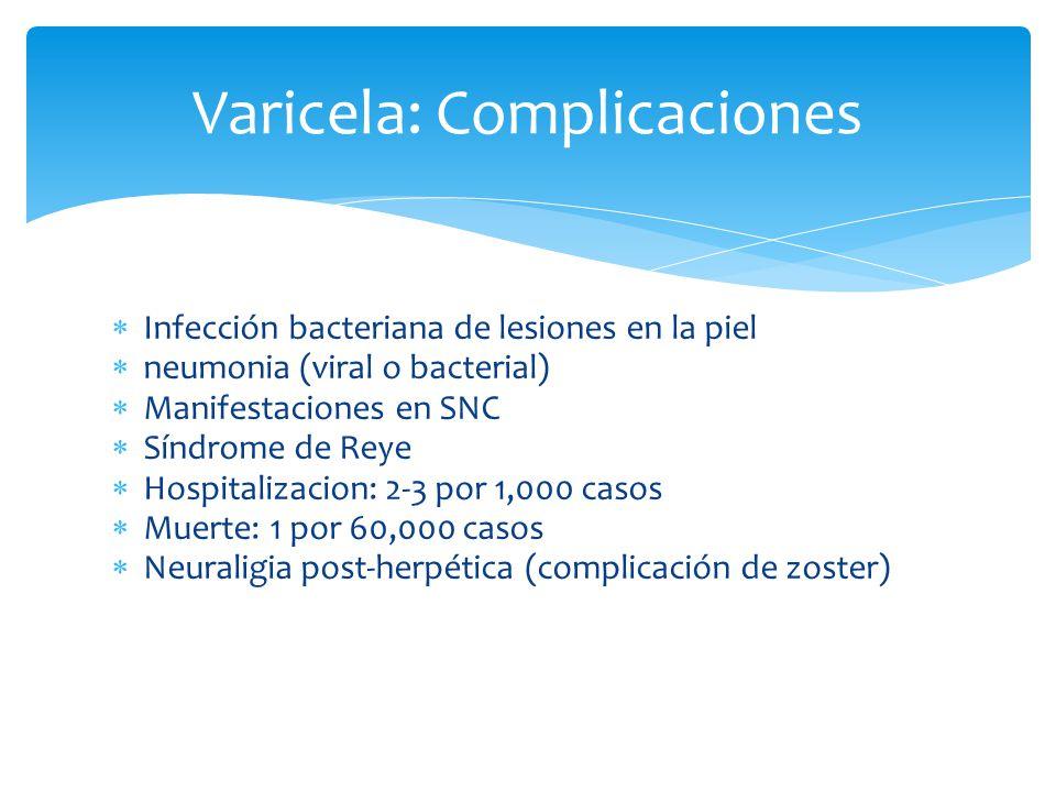 Varicela: Complicaciones Infección bacteriana de lesiones en la piel neumonia (viral o bacterial) Manifestaciones en SNC Síndrome de Reye Hospitalizacion: 2-3 por 1,000 casos Muerte: 1 por 60,000 casos Neuraligia post-herpética (complicación de zoster)