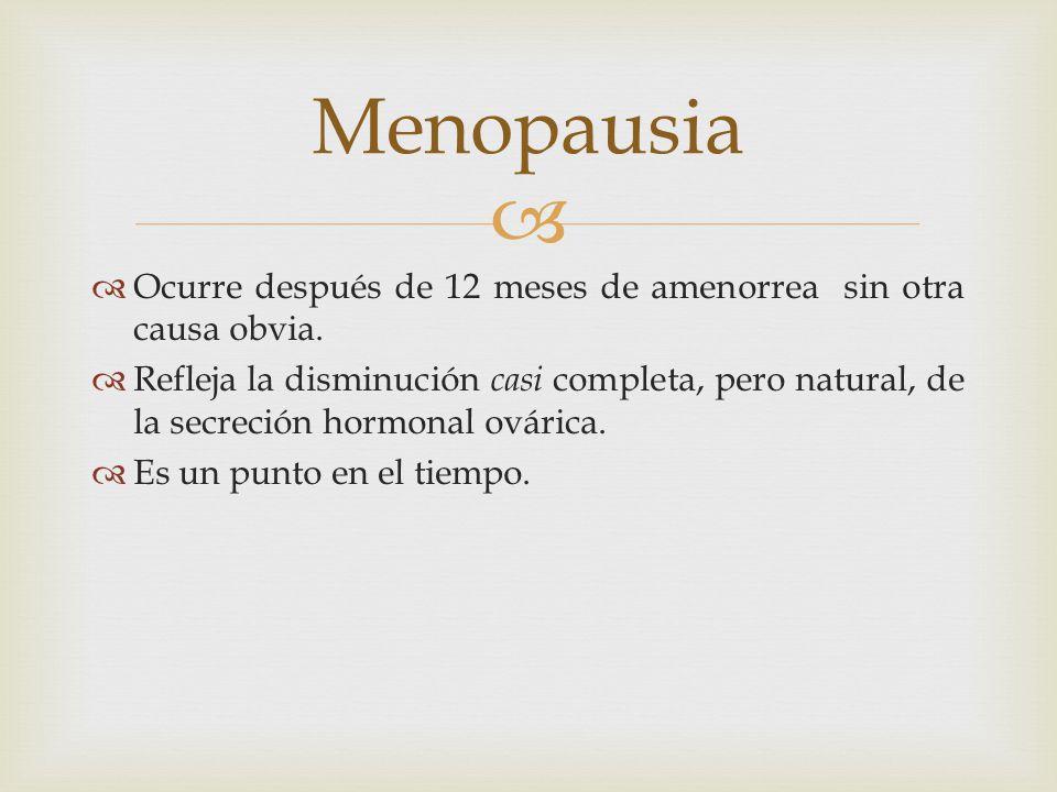 Ocurre después de 12 meses de amenorrea sin otra causa obvia. Refleja la disminución casi completa, pero natural, de la secreción hormonal ovárica. Es