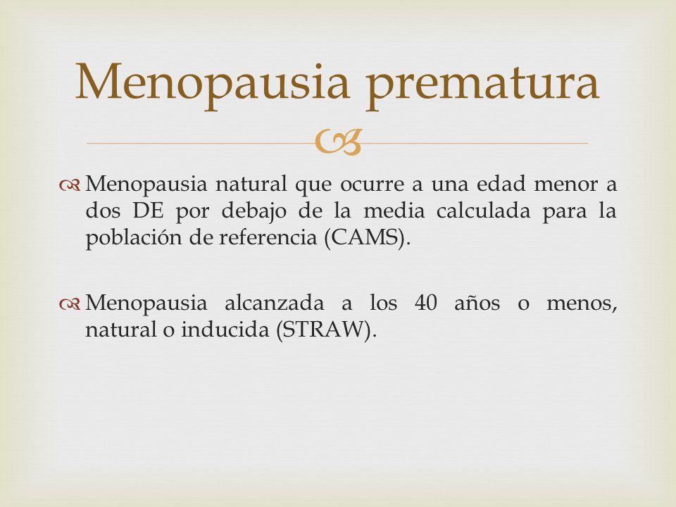 Menopausia natural que ocurre a una edad menor a dos DE por debajo de la media calculada para la población de referencia (CAMS). Menopausia alcanzada
