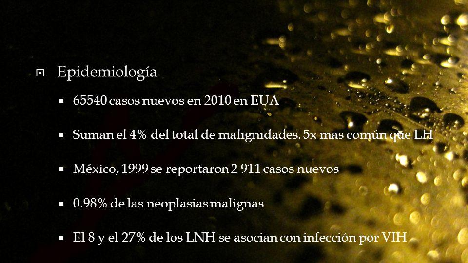 Epidemiología 65540 casos nuevos en 2010 en EUA Suman el 4% del total de malignidades. 5x mas común que LH México, 1999 se reportaron 2 911 casos nuev