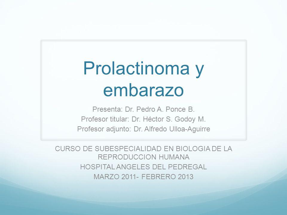 Prolactinoma y embarazo Presenta: Dr. Pedro A. Ponce B. Profesor titular: Dr. Héctor S. Godoy M. Profesor adjunto: Dr. Alfredo Ulloa-Aguirre CURSO DE