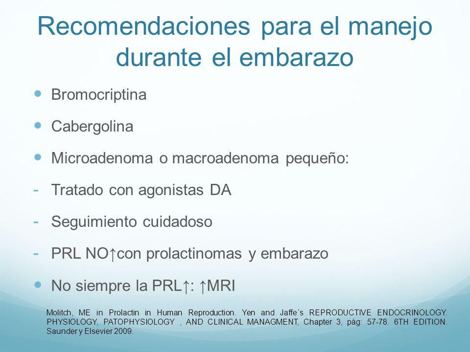 Recomendaciones para el manejo durante el embarazo Campos visuales y MRI: - Síntomas MRI: sin respuesta al tratamiento - Cirugía - Resolución temprana del embarazo Molitch, ME in Prolactin in Human Reproduction.