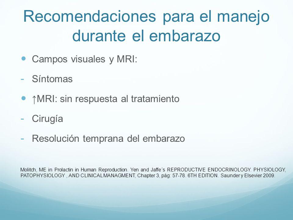 Recomendaciones para el manejo durante el embarazo Macroadenoma (con extensión): - Tratamiento únicamente con DA - 30% de riesgo : MRI sintomático Decisión individualizada alternaitvas: - Cirugía trans-esfenoidal pre-embarazo con DA (ovulación) Molitch, ME in Prolactin in Human Reproduction.