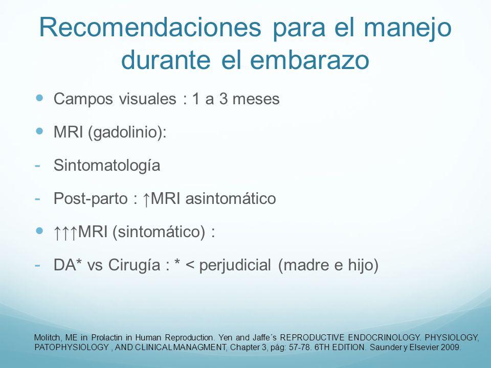 Recomendaciones para el manejo durante el embarazo Campos visuales : 1 a 3 meses MRI (gadolinio): - Sintomatología - Post-parto : MRI asintomático MRI