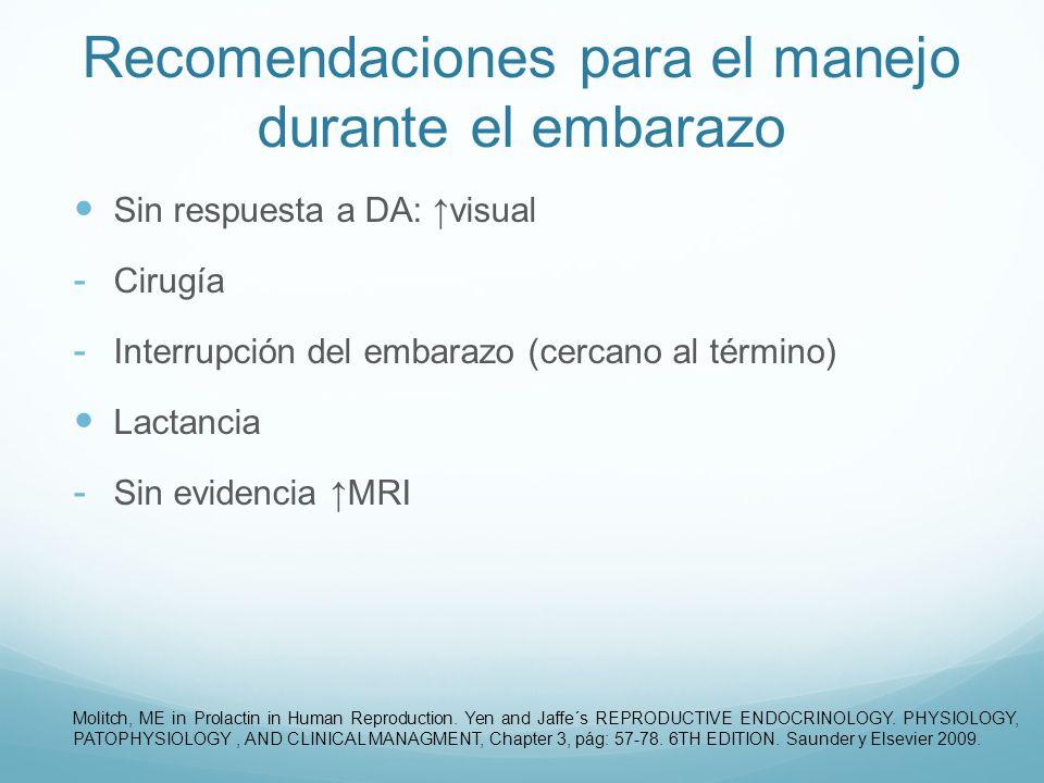 Recomendaciones para el manejo durante el embarazo Sin respuesta a DA: visual - Cirugía - Interrupción del embarazo (cercano al término) Lactancia - S