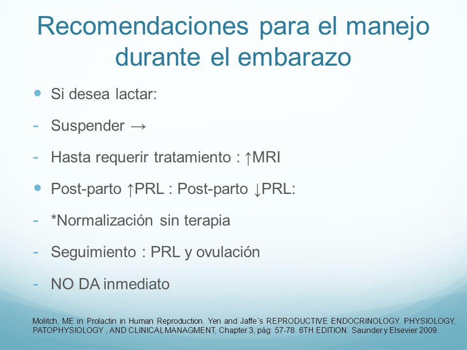 Recomendaciones para el manejo durante el embarazo Si desea lactar: - Suspender - Hasta requerir tratamiento : MRI Post-parto PRL : Post-parto PRL: -