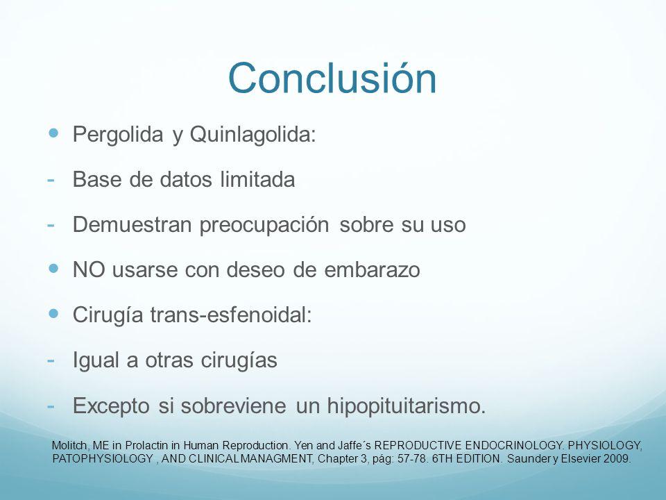 Conclusión Pergolida y Quinlagolida: - Base de datos limitada - Demuestran preocupación sobre su uso NO usarse con deseo de embarazo Cirugía trans-esf