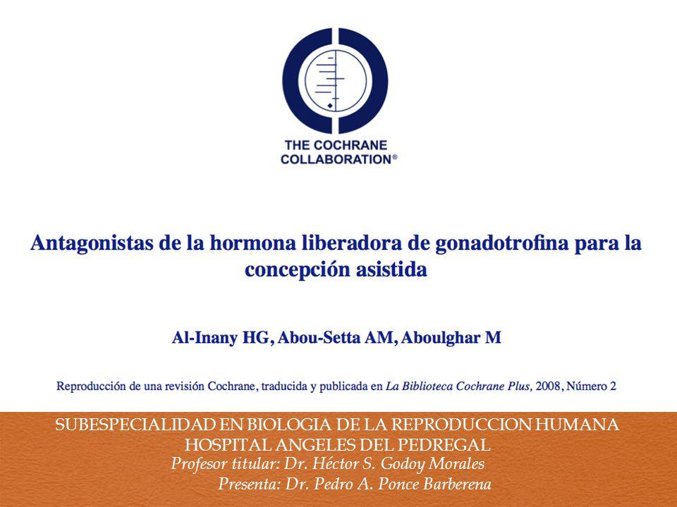 SUBESPECIALIDAD EN BIOLOGIA DE LA REPRODUCCION HUMANA HOSPITAL ANGELES DEL PEDREGAL Profesor titular: Dr.