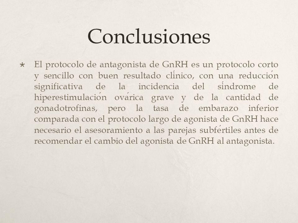 Conclusiones El protocolo de antagonista de GnRH es un protocolo corto y sencillo con buen resultado clinico, con una reduccion significativa de la incidencia del sindrome de hiperestimulacion ovarica grave y de la cantidad de gonadotrofinas, pero la tasa de embarazo inferior comparada con el protocolo largo de agonista de GnRH hace necesario el asesoramiento a las parejas subfertiles antes de recomendar el cambio del agonista de GnRH al antagonista.