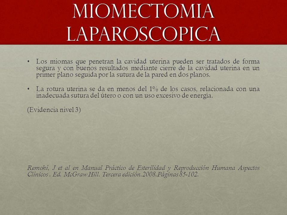 Miomectomia laparoscopica Los miomas que penetran la cavidad uterina pueden ser tratados de forma segura y con buenos resultados mediante cierre de la