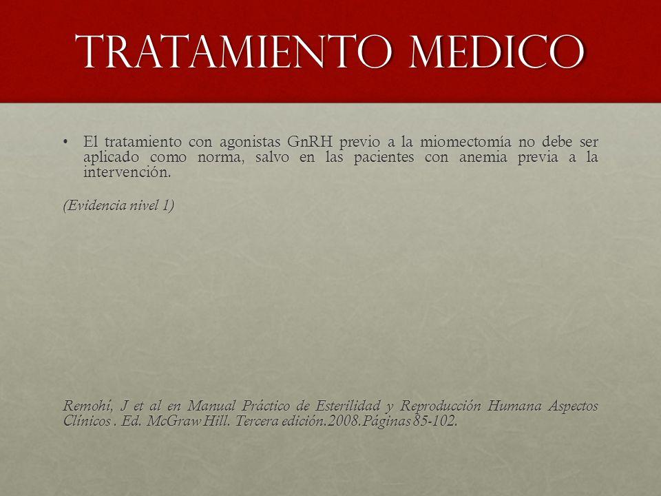 Tratamiento medico El tratamiento con agonistas GnRH previo a la miomectomía no debe ser aplicado como norma, salvo en las pacientes con anemia previa