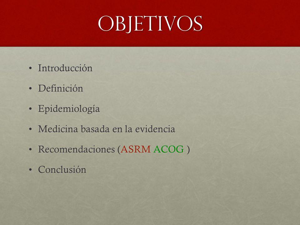 objetivos IntroducciónIntroducción DefiniciónDefinición EpidemiologíaEpidemiología Medicina basada en la evidenciaMedicina basada en la evidencia Recomendaciones (ASRM ACOG )Recomendaciones (ASRM ACOG ) ConclusiónConclusión