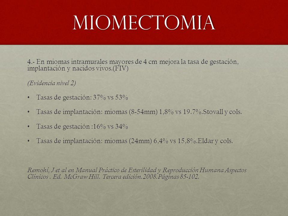 miomectomia 4.- En miomas intramurales mayores de 4 cm mejora la tasa de gestación, implantación y nacidos vivos.(FIV) (Evidencia nivel 2) Tasas de gestación: 37% vs 53%Tasas de gestación: 37% vs 53% Tasas de implantación: miomas (8-54mm) 1,8% vs 19.7%.Stovall y cols.Tasas de implantación: miomas (8-54mm) 1,8% vs 19.7%.Stovall y cols.