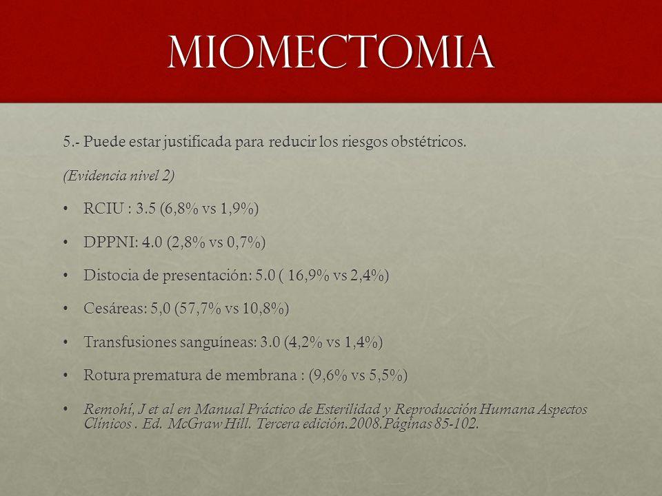 MIOMECTOMIA 5.- Puede estar justificada para reducir los riesgos obstétricos. (Evidencia nivel 2) RCIU : 3.5 (6,8% vs 1,9%)RCIU : 3.5 (6,8% vs 1,9%) D