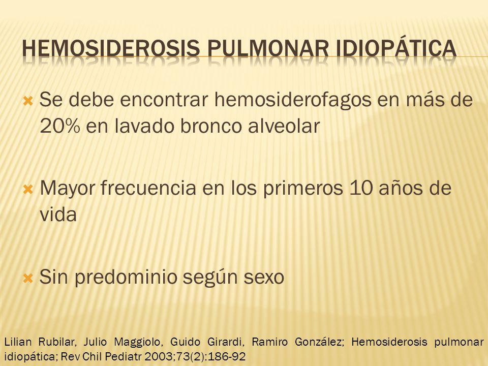 Se debe encontrar hemosiderofagos en más de 20% en lavado bronco alveolar Mayor frecuencia en los primeros 10 años de vida Sin predominio según sexo L