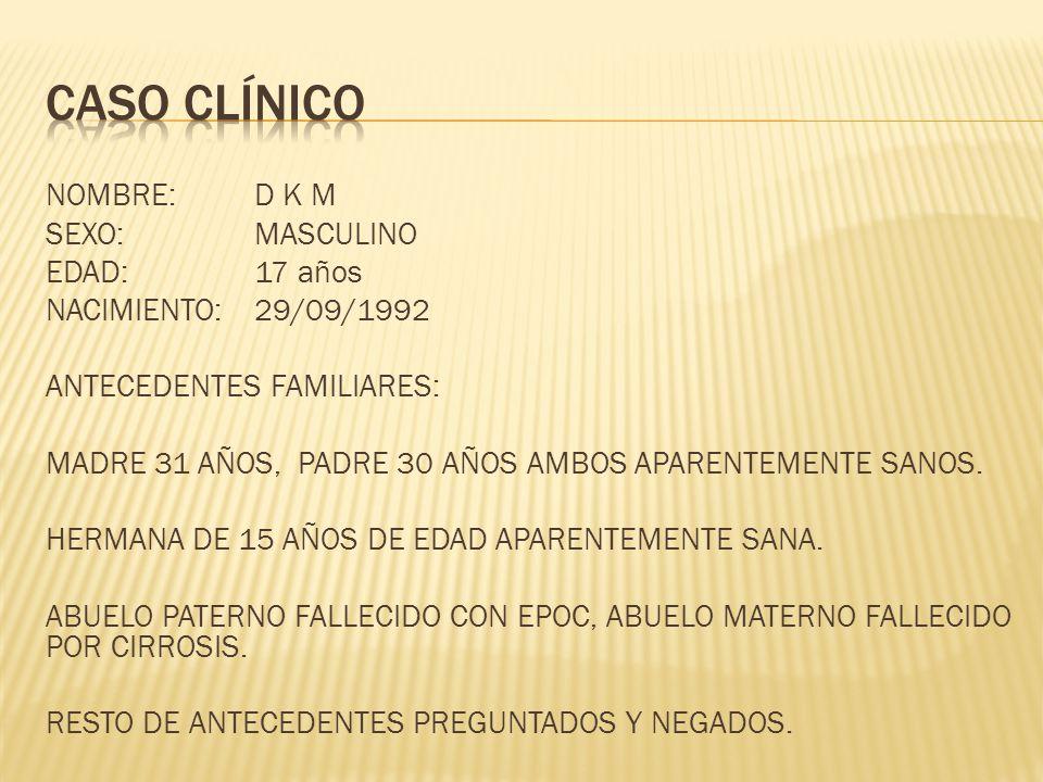 NOMBRE:D K M SEXO:MASCULINO EDAD:17 años NACIMIENTO: 29/09/1992 ANTECEDENTES FAMILIARES: MADRE 31 AÑOS, PADRE 30 AÑOS AMBOS APARENTEMENTE SANOS. HERMA