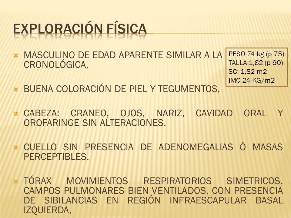 MASCULINO DE EDAD APARENTE SIMILAR A LA CRONOLÓGICA, BUENA COLORACIÓN DE PIEL Y TEGUMENTOS, CABEZA: CRANEO, OJOS, NARIZ, CAVIDAD ORAL Y OROFARINGE SIN