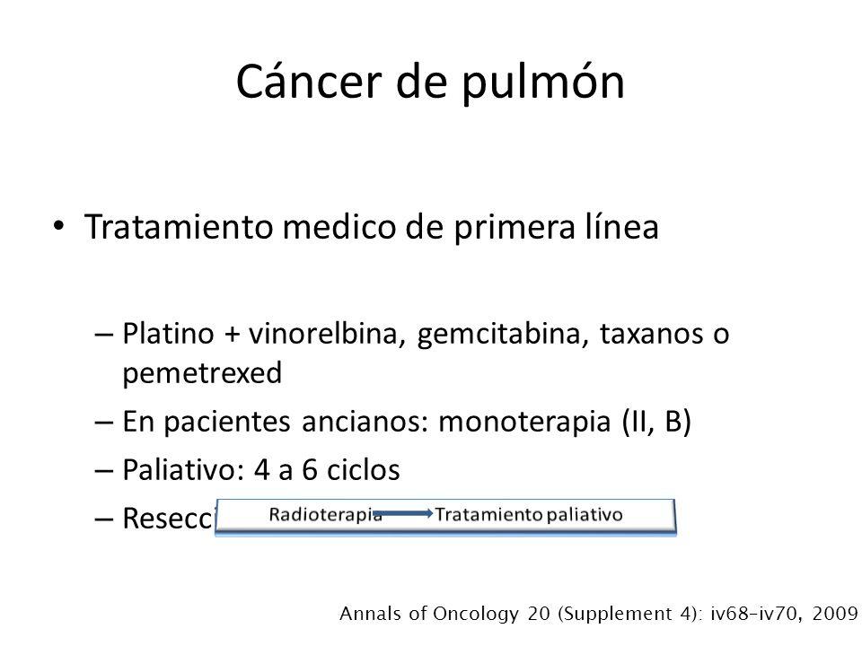 Tratamiento medico de primera línea – Platino + vinorelbina, gemcitabina, taxanos o pemetrexed – En pacientes ancianos: monoterapia (II, B) – Paliativo: 4 a 6 ciclos – Resección de metástasis únicas (III, B) Cáncer de pulmón Annals of Oncology 20 (Supplement 4): iv68–iv70, 2009