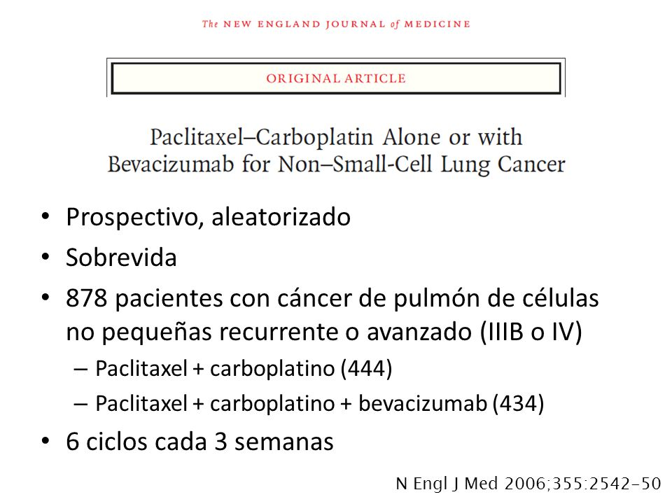 Prospectivo, aleatorizado Sobrevida 878 pacientes con cáncer de pulmón de células no pequeñas recurrente o avanzado (IIIB o IV) – Paclitaxel + carbopl