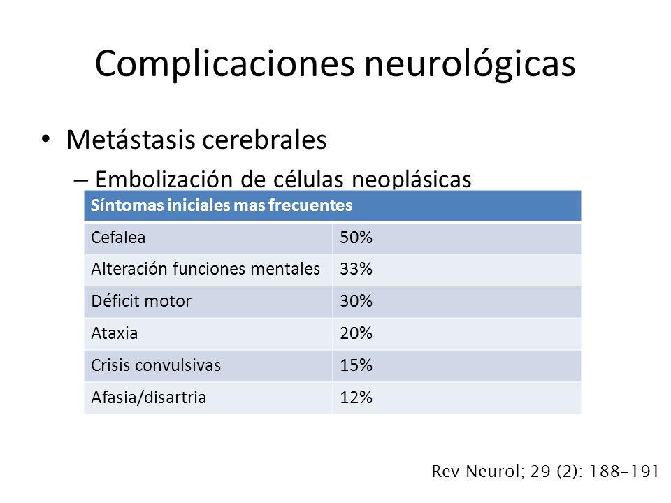 Metástasis cerebrales – Embolización de células neoplásicas Complicaciones neurológicas Síntomas iniciales mas frecuentes Cefalea50% Alteración funciones mentales33% Déficit motor30% Ataxia20% Crisis convulsivas15% Afasia/disartria12% Rev Neurol; 29 (2): 188-191