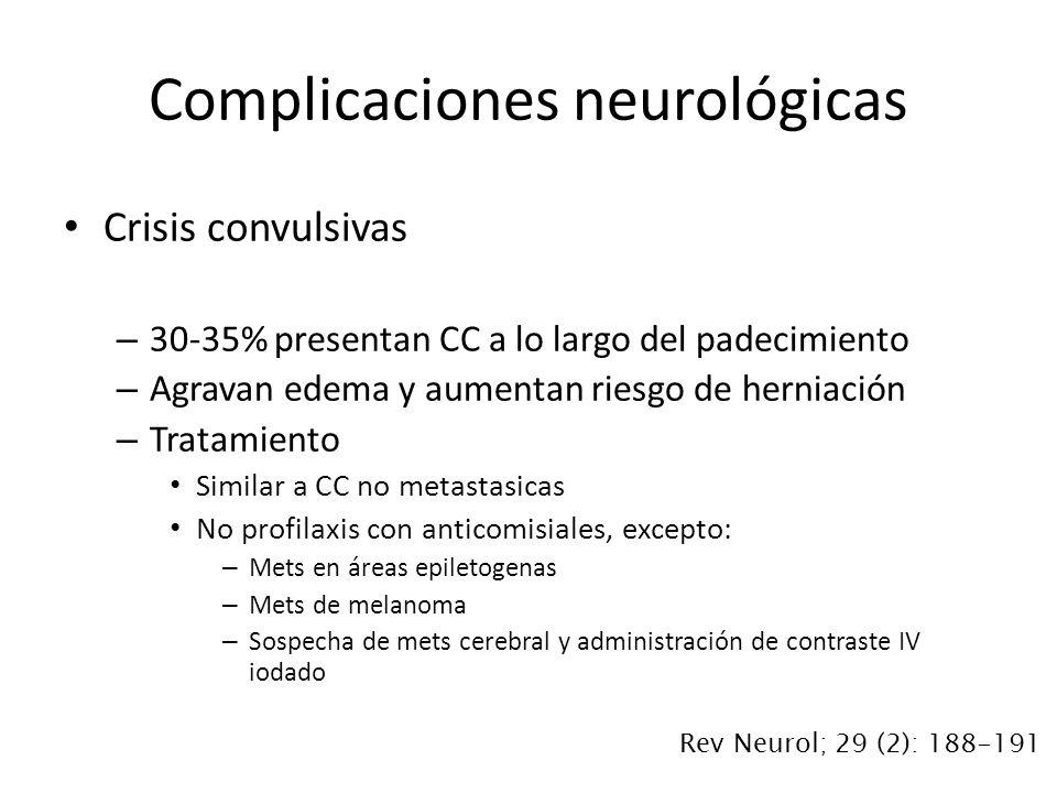 Crisis convulsivas – 30-35% presentan CC a lo largo del padecimiento – Agravan edema y aumentan riesgo de herniación – Tratamiento Similar a CC no met